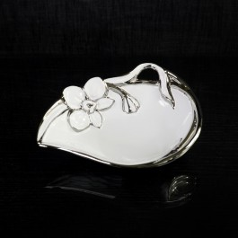 Ceramic Candy Dish White & Silver with Orchid motif by myitalianfavors.com