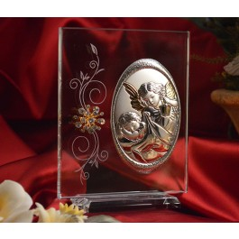 RL150V Italian Silver Guardian Angel icon on a glass stand