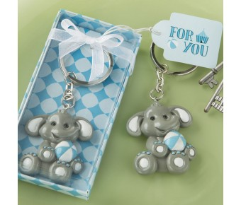 8865 adorable baby elephant with blue design key chain