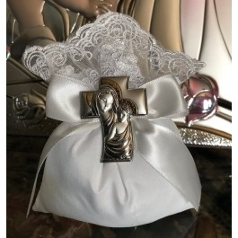 AF609 italian pouch with lace with silver pin cross favor Baptism Communion