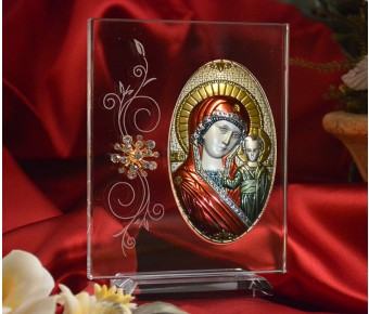 RL180VX Italian Silver Greek Orthodox Mother Mary icon with colors on a glass stand
