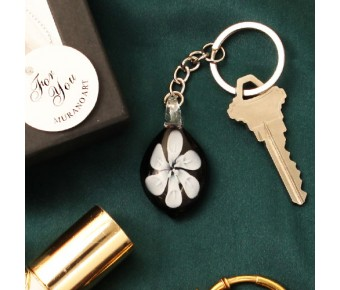 "RB1110 ""White Lily"" Arte Murano Glass Key Chain"