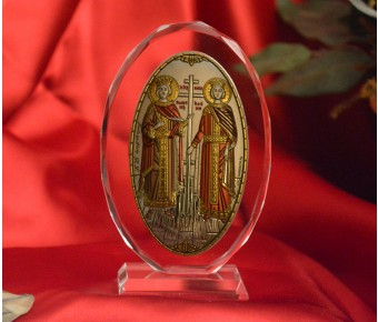 RL1210VOX Italian Silver Orthodox Greek Icon Saints Constantine & Helen Made in Italy icon on a glass stand