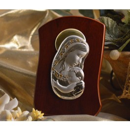 RL270 Italian Silver Mother and Child icon on a wood stand