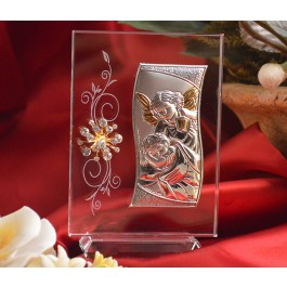 RL450V Italian Silver Guardian Angel icon on a glass stand