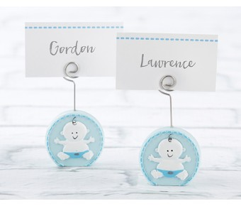 25324BL Baby Boy Blue Place Card Holder (Set of 6)