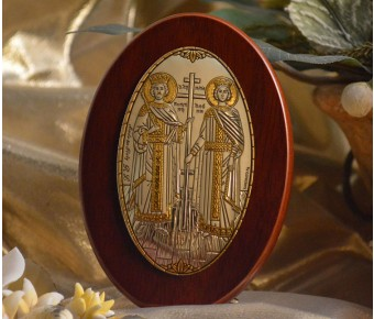 RL1210Italian Silver Orthodox Greek Icon Saints Constantine & Helen Made in Italy icon on a wood stands