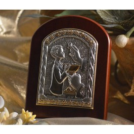 RL910 Italian Silver First Communion Boy icon on a wood stand