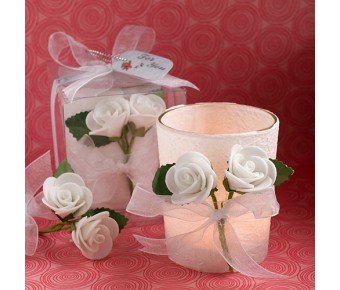 6105 White Rose Candle Favors