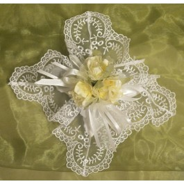 AF1522 Doily Favor bag with Craft Flowers, Almond Favors, Wedding Favors Bomboniere, 50th Wedding Anniversary