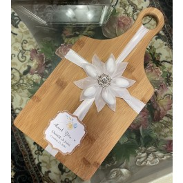 Bamboo Cutting Board with Confetti flower and tag by myitalianfavors.com
