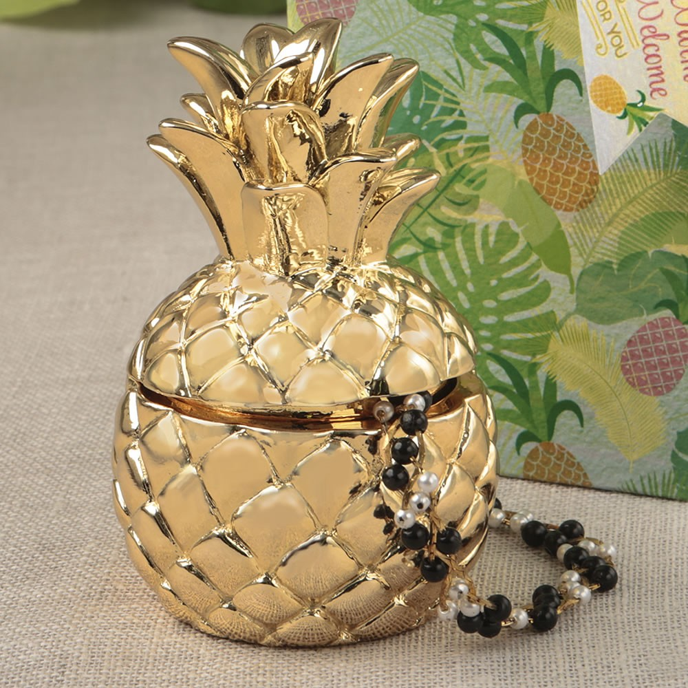 9bcf27edefc 8876 Pineapple themed gold pineapple box from the Warm Welcome Collection