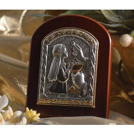RL900 Italian Silver First Communion Girl icon on a wood stand