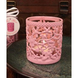 "RB1136 ""Glowing Garden"" Pink Steel Candle Holder with Glass Cup and Tea Light Candle"