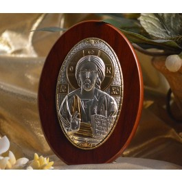 RL190 Italian Silver Greek Orthodox Christ icon on a wood stand