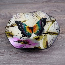 N25-540 - Deco Glass Round Platter with butterfly decor by myitalianfavors.com