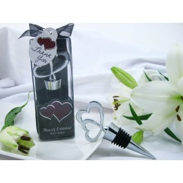 "A61012 ""Hearts Entwined"" Double Heart Bottle Stopper in Designer Gift Box"