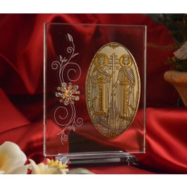 RL1210VItalian Silver Orthodox Greek Icon Saints Constantine & Helen Made in Italy icon on a Glass stand