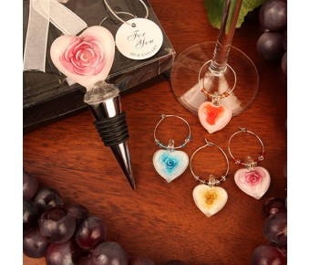 """RB1102 """"Roses in Bloom"""" Glass Bottle Stopper and Matching Wine Charm Set"""