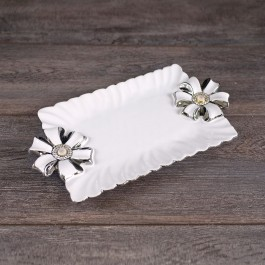 Rectangular  White Ceramic Platter with silver scalloped edge by myitalianfavors.com