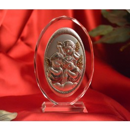 RL100VO Italian Silver Angels icon on a glass stand