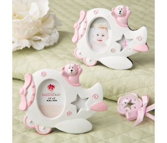 8389 Pink Airplane design photo frame with adorable Teddy bear decoration.
