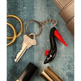 "RB1108 ""Bold in Black"" Arte Murano Shoe Key Chain"
