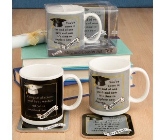 12648 Grad mug & Coaster set - 2 assorted styles from gifts by fashioncraft