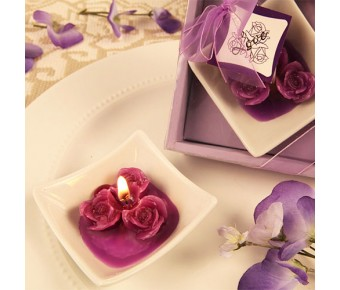 "RB7854PP ""Lovely Little Roses"" Purple Rose Candles with Tray"