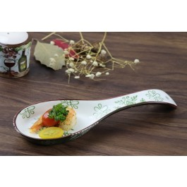 SAMANA COLLECTION EURO GREEN STONEWARE SPOON REST by myitalianfavors.com