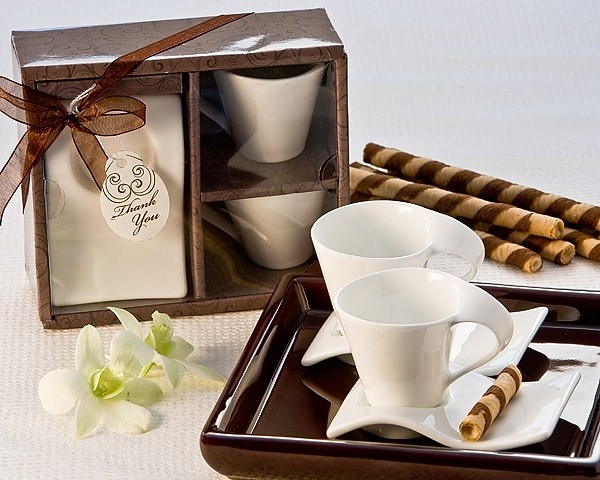Wedding Bomboniere Gifts: Swish Cup And Biscotti Plate Favor (Set Of 2)