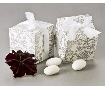 "A21000 ""Classic Damask"" Square Favor Box (24 Pack)"