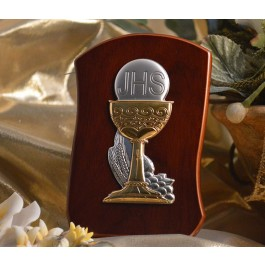 RL210 Italian Silver Chalice icon on a wood stand