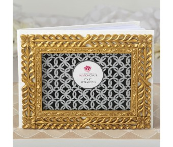2529 Gold lattice botanical collection guest book