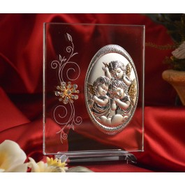 RL100V Italian Silver Angels icon on a glass stand