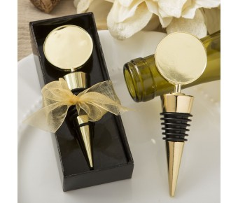 5109 Perfectly plain collection gold metal wine bottle stopper with a gold metal round top