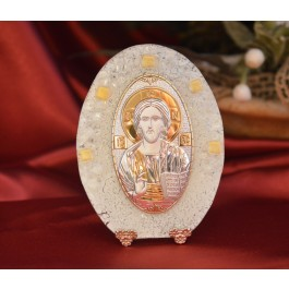 74MUR Made in Italy Christ Pantocrator on a Murano Glass Stand