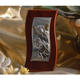RL450 Italian Silver Guardian Angel icon on a wood stand