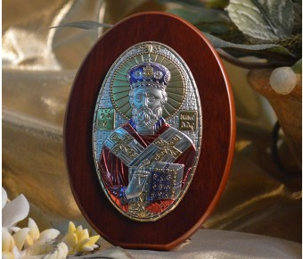 RL1100X Italian Silver Greek Orthodox Saint Nicholas icon with colors on a wood stand