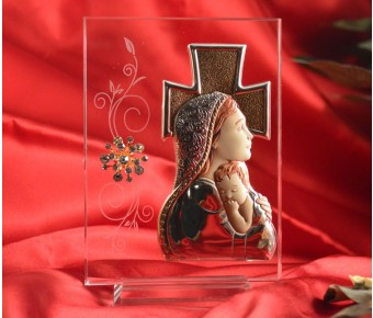 RL1650Italian Silver Mother and Child icon on a glass stand