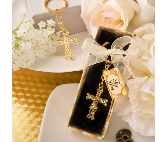 6153 Dramatic Gold metal Cross with intricate intertwined design