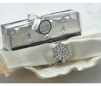 "A61025 ""Winter Wishes"" Snowflake Napkin Rings"