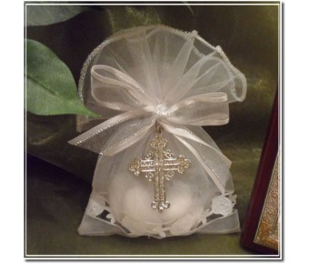 AF15 Pouch with confetti and Rhinestone Cross Pendant