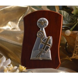 RL220 Italian Silver Confirmation icon on a wood stand