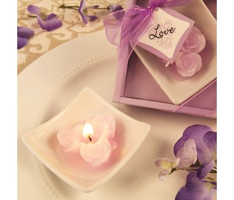 "RB7854LA ""Lovely Little Roses"" Lavender Rose Candles with Tray"
