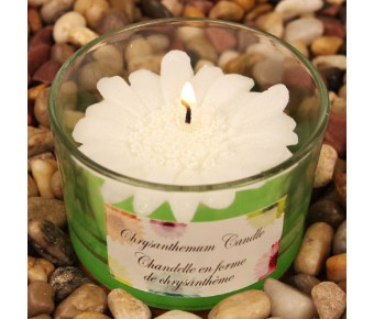 "RB7851WW ""Colorful Chrysanthemums"" White Colored Flower Shaped Scented Candle"