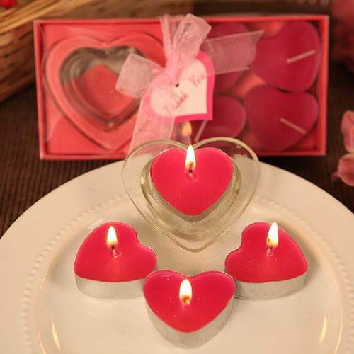 Rb7741hp Love S Burning Bright Heart Shaped Candle Holder With Hot Pink Candles