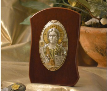 RL790 Italian Silver Orthodox Greek Icon Christ Pantocrator Made in Italy icon on a wood stand