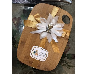 Bamboo Cutting Boardwith Confetti flower and tag first communion by myitalianfavors.com