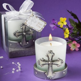 5444 Regal Favor Collection Cross Themed Candle Holders